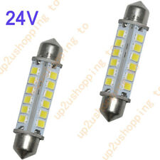 2 x 24V 44MM 24-2835-SMD Pure White Dome Festoon LED License Plate Light Bulbs