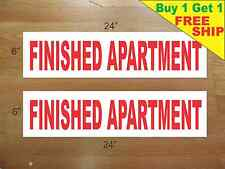 """FINISHED APARTMENT 6""""x24"""" REAL ESTATE RIDER SIGNS Buy 1 Get 1 FREE 2 Sided"""
