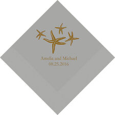 100 Starfish Personalized Wedding Cocktail Napkins