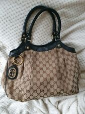 Authentic vintage large Gucci Sukey tote Beige GG logo purse shoulder handbag