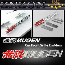Red MUGEN Logo 3D Metal Racing Rally Front Hood Grill Grille Emblem Badges