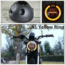 "6.8"" Motorcycle Projector High/Low LED Front Driving Headlamp Head Light Yellow"