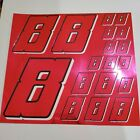 PINK CHROME w/Black & White #8's Decal Sticker Sheet 1/8-1/10-1/12 RC Models
