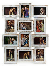 Edler Bilderrahmen weiß gold gewischt 12 Fotos Barock antik Galerie Fotocollage