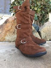 Fabs Womens 10 Brown Faux Suede Boots