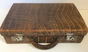 VINTAGE Crocodile Leather Small Suitcase/ Attaché Case North West Tannery Co AC