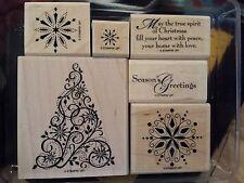 Stampin Up SNOW SWIRLED wm Stamp Set CHRISTMAS Ornate Tree Snowflakes Swirls