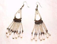 Long Cristal bead Gold Metal Drop Dangle Fashion Earrings 1980'