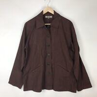 FLAX Womens S Linen Button Front Jacket Brown Lightweight Collared Pockets