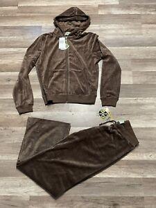 Rare NWT Vintage Juicy Couture 2000s Velour Brown Hoodie & Pants Tracksuit Large