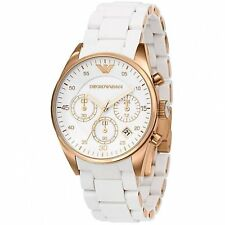 New Emporio Armani AR5920 Women's Gold Bezel White Silicone Chronograph Watch