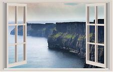 WALL STICKERS ADESIVI MURALI Scogliera sul mare Trompe L'oeil finestra natura
