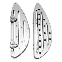 Chrome Deep edge cut Driver Stretched Floorboards for Harley Glide softail