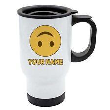 Personalisiert Gesicht Emoji Weiß Reisebecher - Happy 6 - Verkehrt Unten - Add