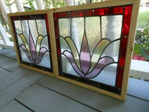 LA-8-116 Beautiful Pair Leaded Glass Windows F/England Reframed Both For 1 Money