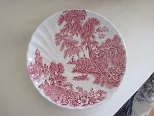 "SWINNERTONS ""THE FERRY"" IRONSTONE SAUCER/DISH/Made in England /Pink & White"