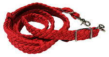Roping Knotted Horse Tack Western Barrel Reins Nylon Braided Red 60723