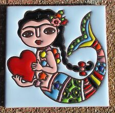 """1~MEXICAN TALAVERA POTTERY 4"""" tile hand painted hi relief Frida Kahlo mermaid"""