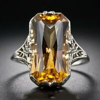 925 Sliver Ring Citrine Gemstone Jewelry Wedding Engagement Party Gift Size 6-10