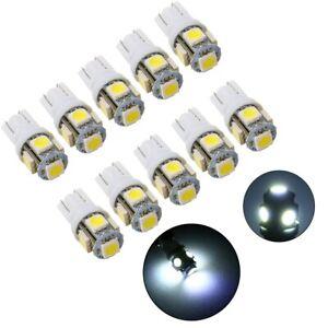 10X 5SMD LED 501 T10 W5W Push Wedge Capless White Side Light Bulbs 5000K 6000K