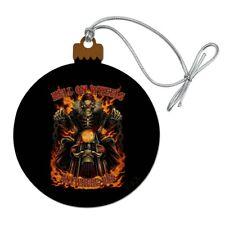 Hell On Wheels Motorcycle Skeleton Wood Christmas Tree Holiday Ornament