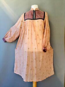 Vtg Prairie smock Indian Block Print Dress gauze 70's peasant Pocket M 12 14 C10