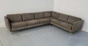 Superb cond. BoConcept Osaka corner sofa, brown/black Firenze fabric, RRP £4000+