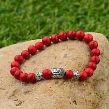 Women Men Natural Red Turquoise Howlite Energy Silver Buddha Beads Bracelet Gift