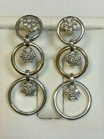 Fabulous 9 Carat Yellow & White Gold DIAMOND Set Stud Drop Earrings