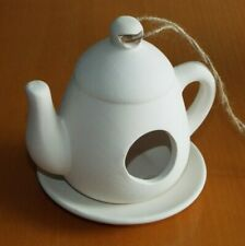 Teapot shaped ceramic bird feeder to decorate / paint