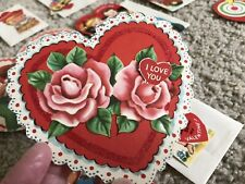 24 Vtg New Valentine Die Cut Antique Cards 1920s-50s Flocked Stand Up Unused
