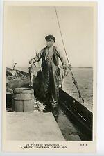 GASPE Quebec RPPC Pecheur - Fisherman - Crisp Vintage Photo ca. 1930s