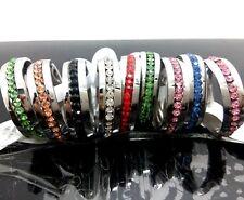 50pcs Comfortable Color Zircon Stainless Steel CZ Wedding Rings Jewelry Job Lots