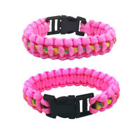 Outdoor Camping Paracord Rope Bracelet Wristband Emergency Survival Pink Unisex