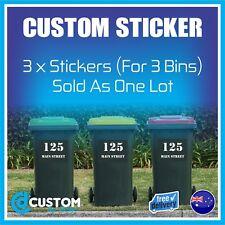 3x Rubbish Bin Sticker House Number Street Name Decal Garbage Wheelie Bin Decal