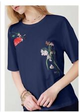 Embroidered Floral Navy Blue Cotton Top #A1189