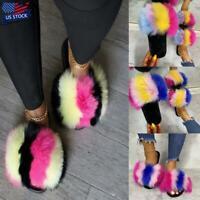 Women's Fox Fur Slides Fuzzy Furry Slippers Slides Slip On Sandals Shoes Size US