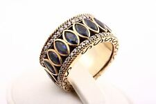 Sultan! Turkish Jewelry Sapphire Topaz 925 Sterling Silver Ring Size 9