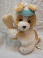 "VINTAGE RUSS SCAMPY PUPPY DOG W/ BONE & HAT 7"" Plush STUFFED ANIMAL Toy"