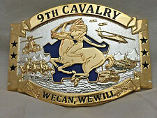 US 9th Cavalry Headhunters Solid Brass Belt Buckle We Can We Will (Quad) Gold
