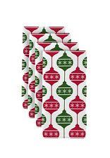 """Green & Red Christmas Balls 18"""" x 18"""" Napkins 1 Dozen"""