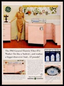 1961 General Electric pink washer dryer & cabinets photo vintage print ad