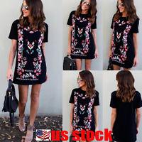 Fashion Womens Short Sleeve T Shirt Dress Casual Blouse Ladies Skirt Loose Tops