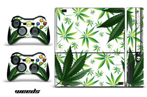 Skin Decal Wrap for Xbox 360 E Gaming Console & Controller Sticker Design WEED W
