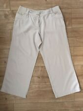 Ladies Next Maternity Beige Cropped Linen Trousers Size 12