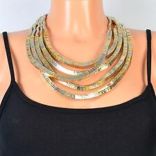 Kette Halskette Statement Collier Schlange Farbe Gold Gedreht Geflochten Trendy