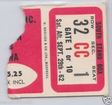 Vintage 1962 Ottawa Rough Riders CFL Ticket vs Ti-Cats - Russ Jackson scores 2