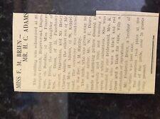 M3-9b ephemera 1941 dagenham ww2 wedding frances brien henry adams wed