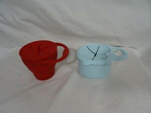 Silicone Snack Containers Blue Elephant & Red Handled Cup Portable Grab thru Top