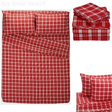 160 Gram Plaid Velvet Flannel Sheet, Fitted Textiles Set - Queen Bordeaux Plaid